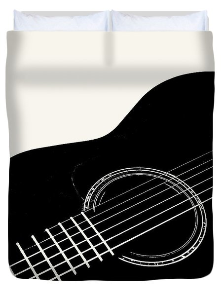 Duvet Cover featuring the digital art Guitar, Black And White,  by Jana Russon
