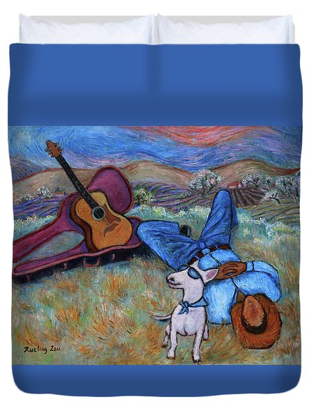 Guitar Doggy And Me In Wine Country Duvet Cover