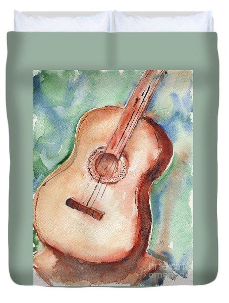 Guitar In Watercolor Duvet Cover