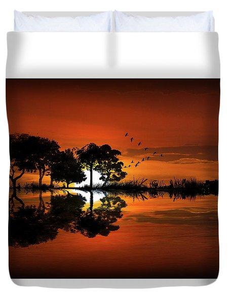 Guitar Landscape At Sunset Duvet Cover