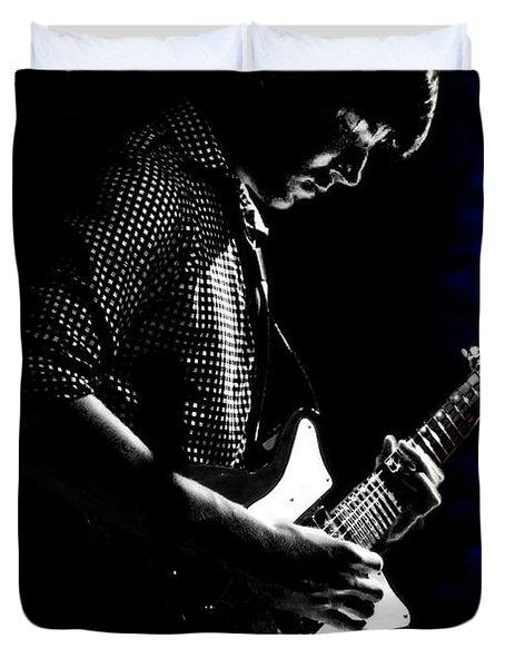 Guitar Man In Blue Duvet Cover by Meirion Matthias