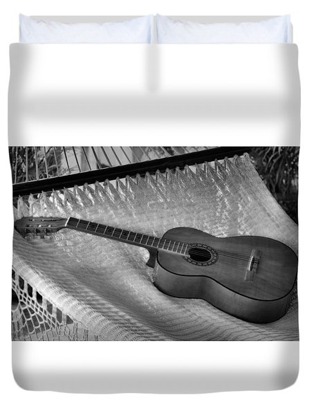 Duvet Cover featuring the photograph Guitar Monochrome by Jim Walls PhotoArtist