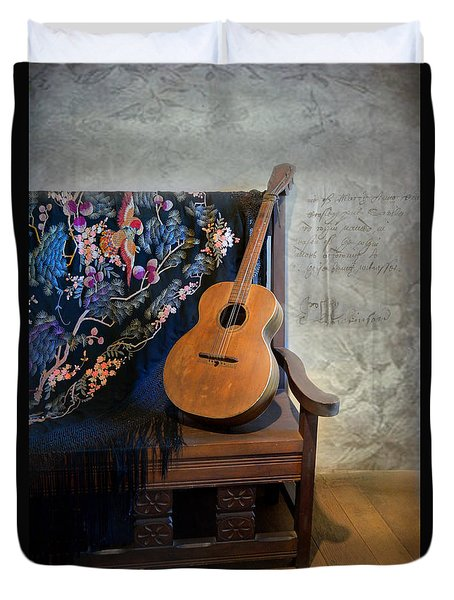 Guitar On A Bench Duvet Cover