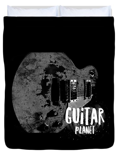 Duvet Cover featuring the photograph Guitar Planet  by Guitar Wacky