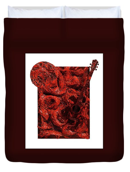 Guitar, Record, Red Duvet Cover