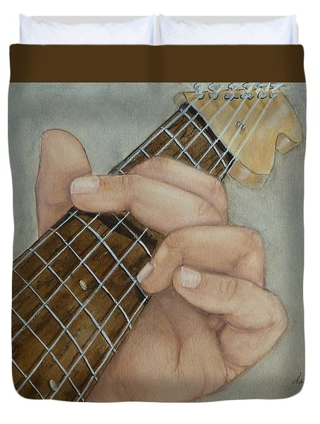 Guitar Strumming In 'g' Cord Duvet Cover