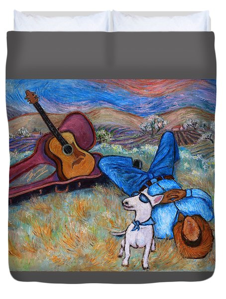 Duvet Cover featuring the painting Guitar Doggy And Me In Wine Country by Xueling Zou