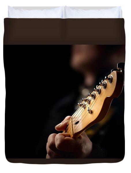 Guitarist Close-up Duvet Cover