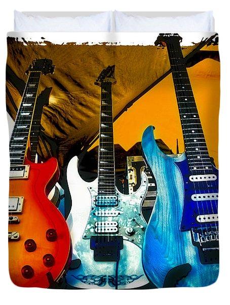 Guitars At Intermission Duvet Cover