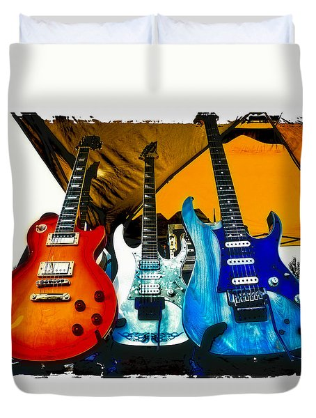 Guitars At Intermission Duvet Cover by David Patterson