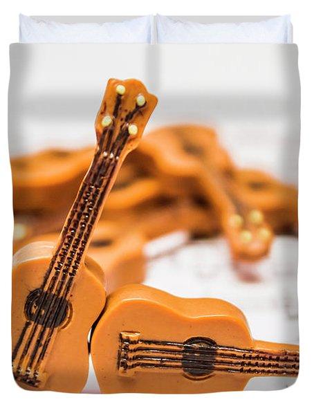 Guitars On Musical Notes Sheet Duvet Cover