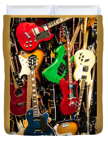 Duvet Cover featuring the photograph Guitars by Suzanne Luft