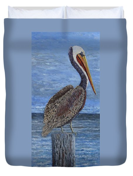 Gulf Coast Brown Pelican Duvet Cover by Suzanne Theis