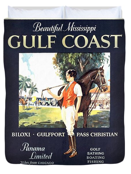 Gulf Coast - Illinois Central - Vintage Poster Restored Duvet Cover