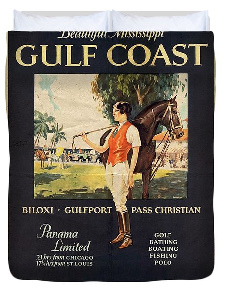 Gulf Coast - Illinois Central - Vintage Poster Vintagelized Duvet Cover