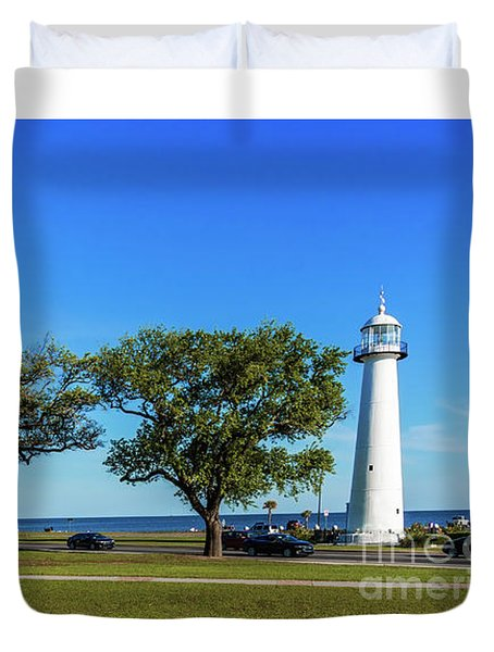 Gulf Coast Lighthouse Seascape Biloxi Ms 3663b Duvet Cover