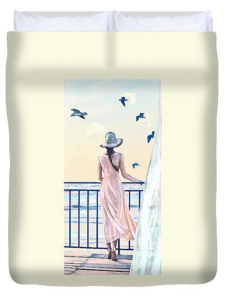 Duvet Cover featuring the digital art Gulf Coast Morning by Jane Schnetlage