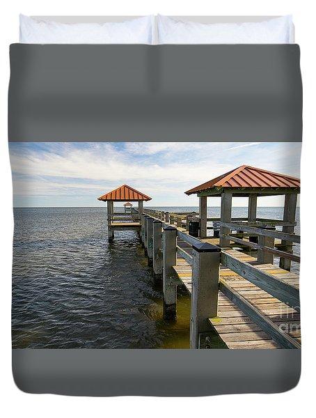 Gulf Coast Pier Duvet Cover