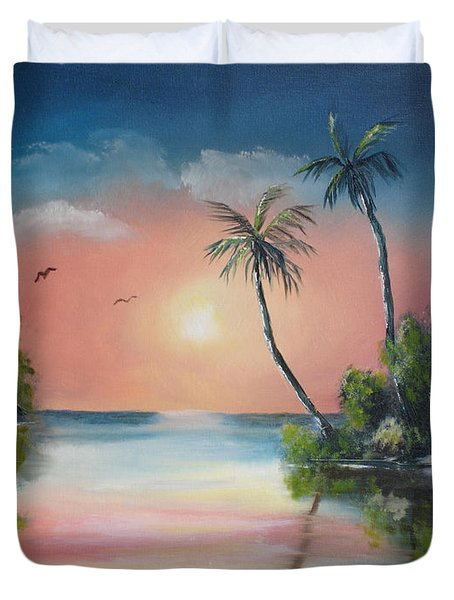 Gulf Coast Sunset Duvet Cover by Susan Kubes