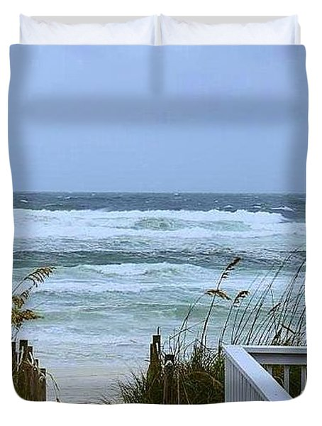 Duvet Cover featuring the photograph Gulf Coast Waves by Debra Forand