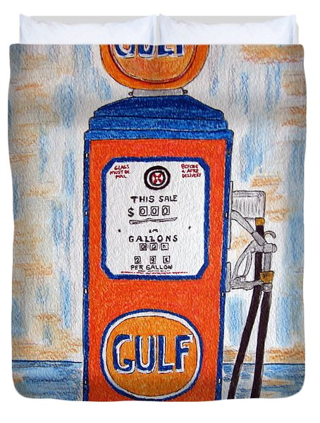 Gulf Gas Pump Duvet Cover