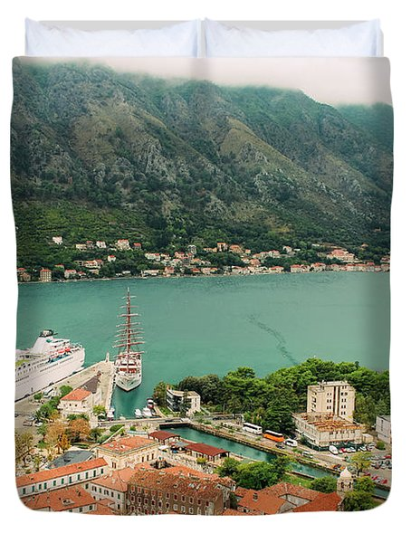 Gulf Of Kotor With Cruise Liner Duvet Cover