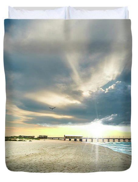 Gulf Shores Al Pier Seascape Sunrise 152a Duvet Cover