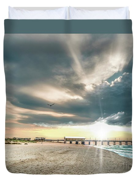 Gulf Shores Al Pier Seascape Sunrise 152c Duvet Cover