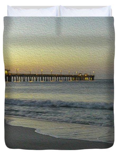 Gulf Shores Alabama Fishing Pier Digital Painting A82518 Duvet Cover
