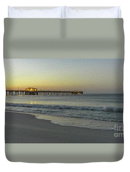 Duvet Cover featuring the painting Gulf Shores Alabama Fishing Pier Digital Painting A82518 by Mas Art Studio