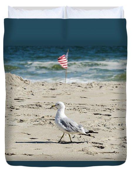 Gull And Flag Rockaway Beach Duvet Cover by Maureen E Ritter