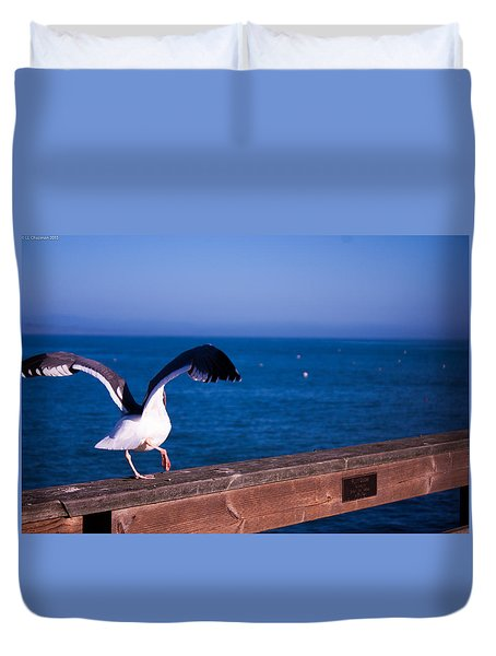 Duvet Cover featuring the photograph Gull Dance by Lora Lee Chapman