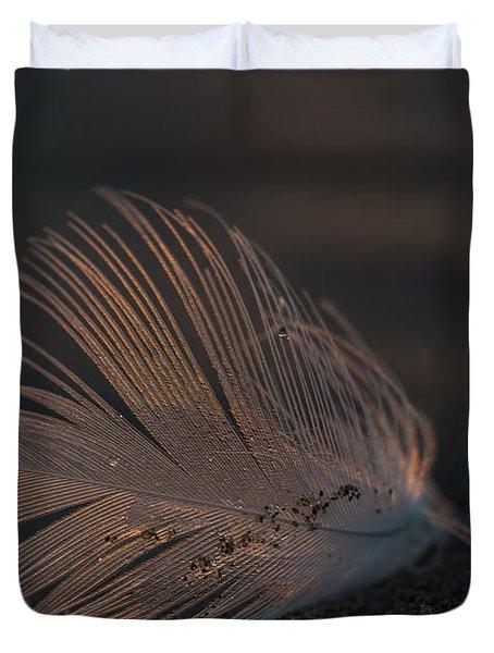 Gull Feather On A Beach Duvet Cover