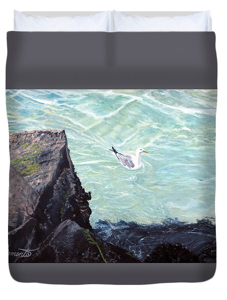 Gull In Shallows Of Barnegat Inlet Duvet Cover