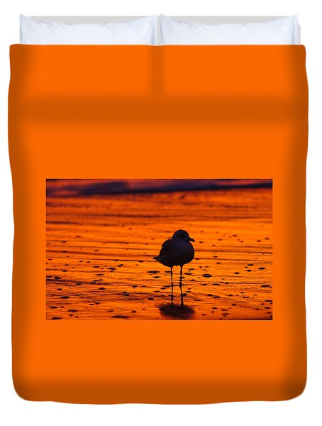 Gull Caught At Sunrise Duvet Cover