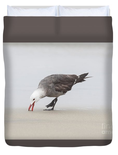 Duvet Cover featuring the photograph Gull On The Beach by Ruth Jolly
