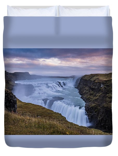 Duvet Cover featuring the photograph Gullfoss, Sunrise by James Billings