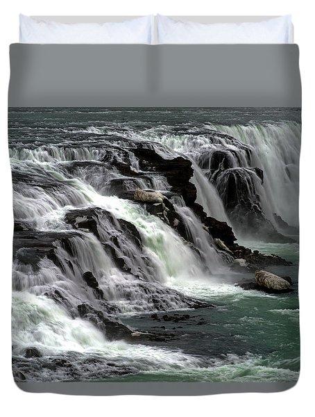 Gullfoss Waterfalls, Iceland Duvet Cover