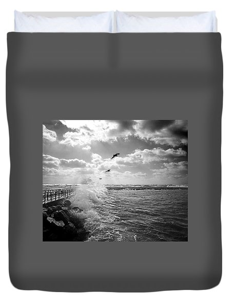 Gulls In A Gale Duvet Cover