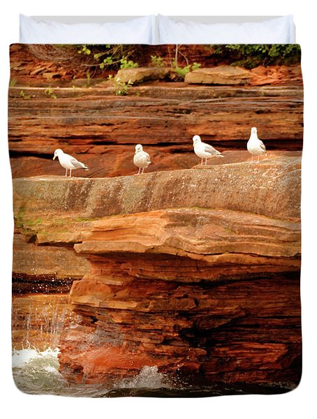 Gulls On Outcropping Duvet Cover