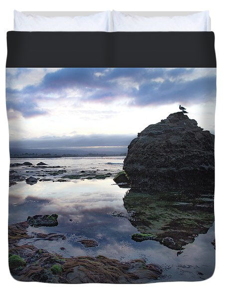 Duvet Cover featuring the photograph Gulls With Clouds by Lora Lee Chapman