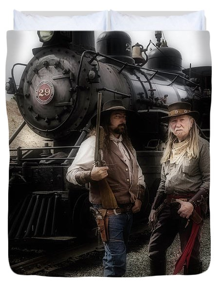 Gunfighters In Front Of Old Train Duvet Cover