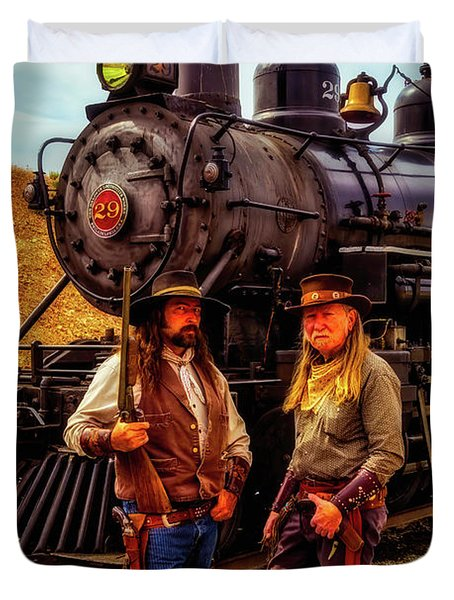 Gunfighters With Old Train Duvet Cover