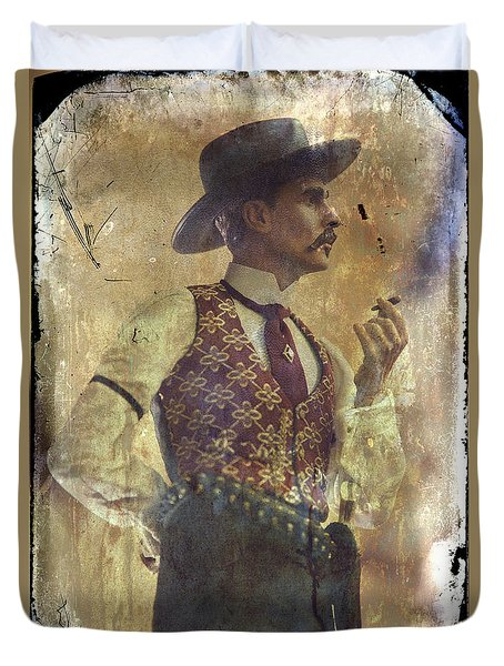 Gunslinger IIi Doc Holliday In Fine Attire Duvet Cover by Toni Hopper