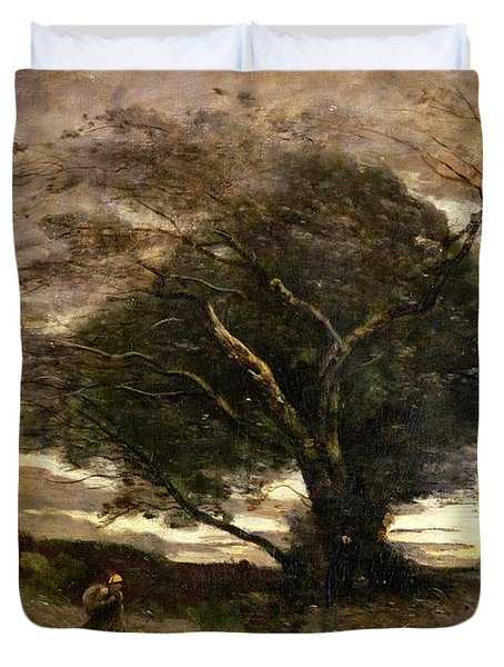 Gust Of Wind Duvet Cover by Jean Baptiste Camille Corot
