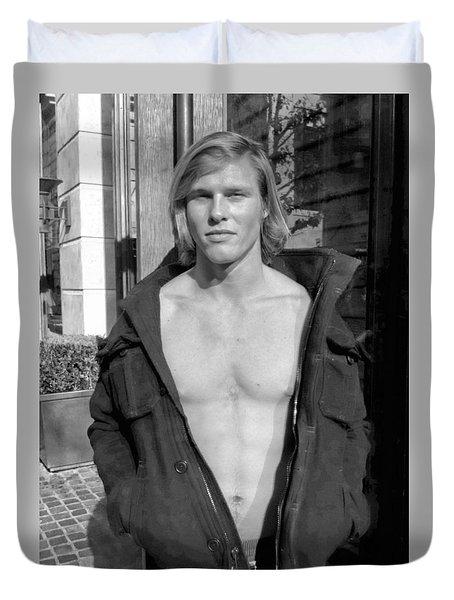 Guy Black And White Duvet Cover by Matthew Bamberg