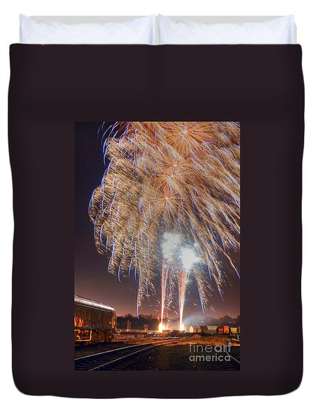 Guy Fawkes Night Fireworks Duvet Cover