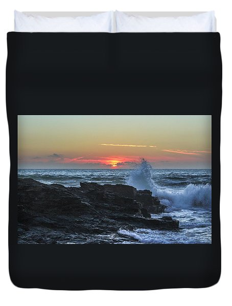 Gwithian Beach Sunset  Duvet Cover by Claire Whatley
