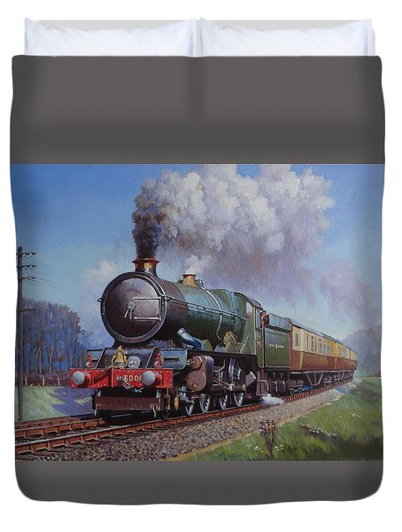 Duvet Cover featuring the painting Gwr King On Dainton Bank. by Mike  Jeffries