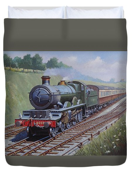 Duvet Cover featuring the painting Gwr Saint Class by Mike  Jeffries